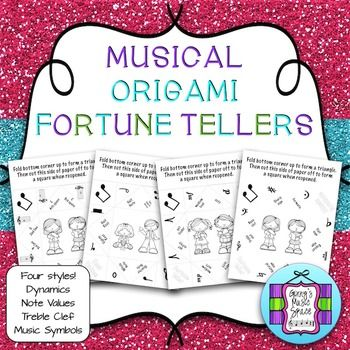 Musical Origami Fortune Tellers!  What a cool idea to review dynamics, note values, treble clef, and music symbols!