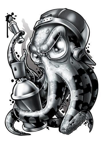 Black and Grey Octopus Temporary Tattoo