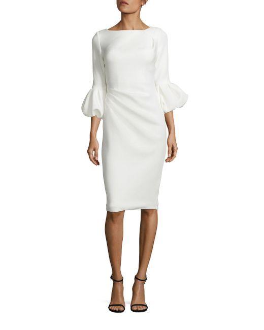 Jovani   White Puff Cuff Crepe Dress   Lyst.....this is MY DRESS!