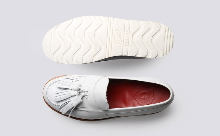 Womens Loafer in White Calf Leather with a White Wedge Sole | Clara | Grenson Shoes - Top & Bottom View