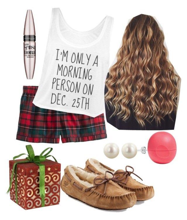 preppy Christmas pajamas by natashayoung on Polyvore featuring polyvore fashion style J.Crew UGG Australia Maybelline Eos clothing