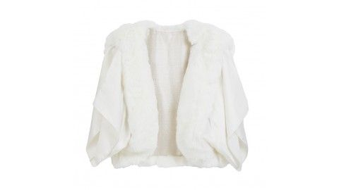 Bridal faux fur jacket bohemian with slik sleeves by Blanche in the Brambles. winter wedding.