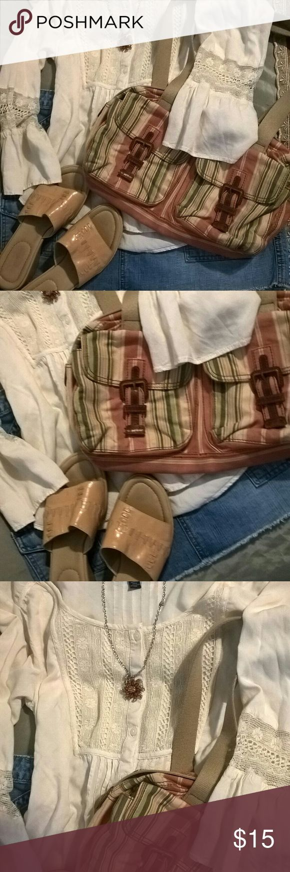 American Eagle Outfitters blouse Beautiful white blouse listed here on its own. This shoes in the purse or listed separately. American Eagle Outfitters Tops Blouses