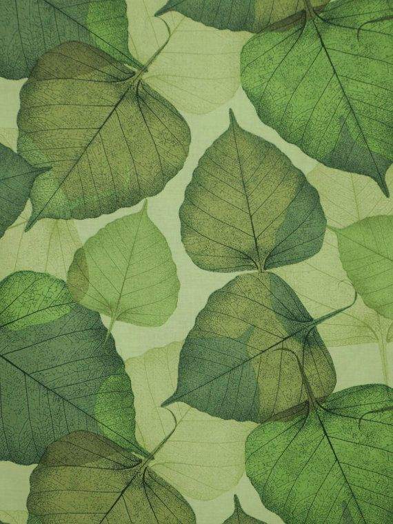 Remnant Green On Green Flora Leaf Print Pure Cotton