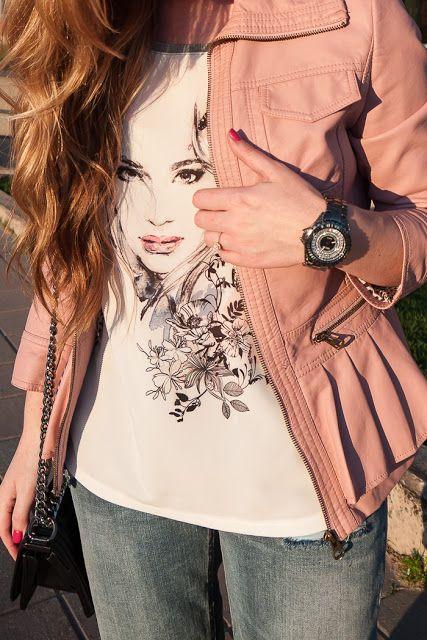 Closet Full Of Thrills: Elegant Graphic Tee & Pink Leather Ruffles