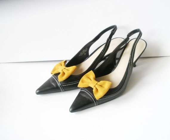 Shoe Clips  Yellow Bow   Suede Mustard  shoes by LeatherGoodThings