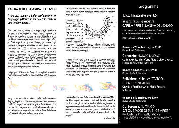 Pieghevole CARINA APRILE, L'ANIMA DEL TANGO - 2010 ©  Carina Aprile. Catalogo a cura di Philipe Daverio    Intermedial Project by Carina Aprile