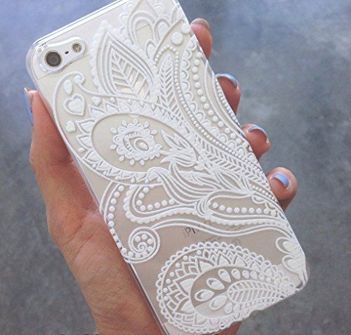 Clear Plastic Case Cover for Apple iPhone 5/5S, 5C, 6, 6Plus 6+ - Henna White Floral Paisley flower mandala ethnic tribal Milkyway Body Jewelry