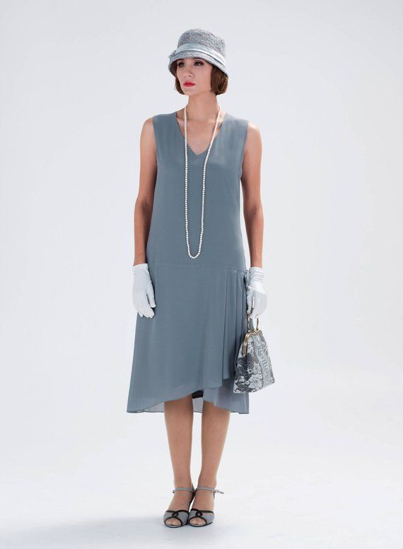 7cf304ff5b7 1920s-inspired flapper dress in grey with drape and bow 1920s