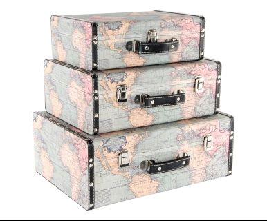 Set di 3 valigie decor in mdf e lino Mappa, max 40x15x29 cm