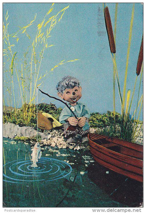 Mecki Hedgehog Fishing old postcard published in Yugoslavia 60s - Delcampe.net
