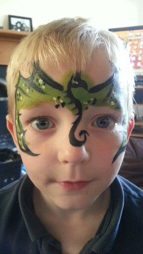 Dragon Mask Face Paint - tribal-esque body along nose, wings over forehead and cheekbones
