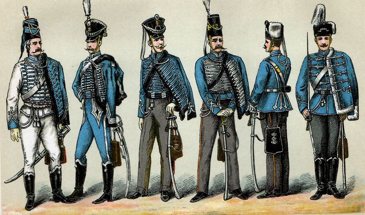 Historical postcard showing the various uniforms of the 12th Husar Regiment.