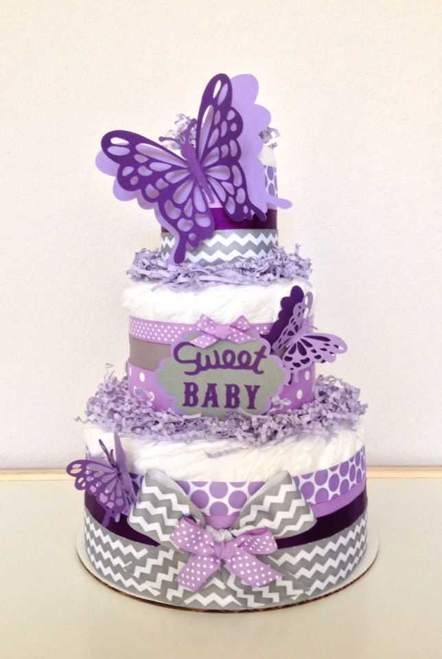 levender butterfly diapers cake for baby shower