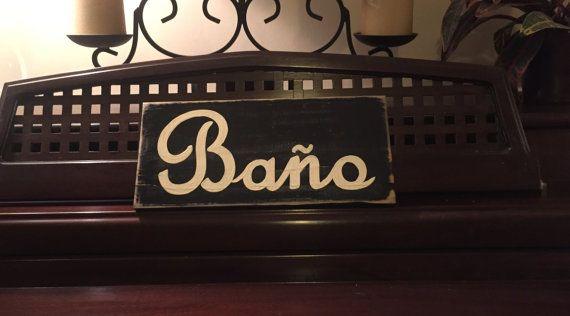 BANO Bathroom Restroom Decor Spanish Sign by ShabbySignShoppe