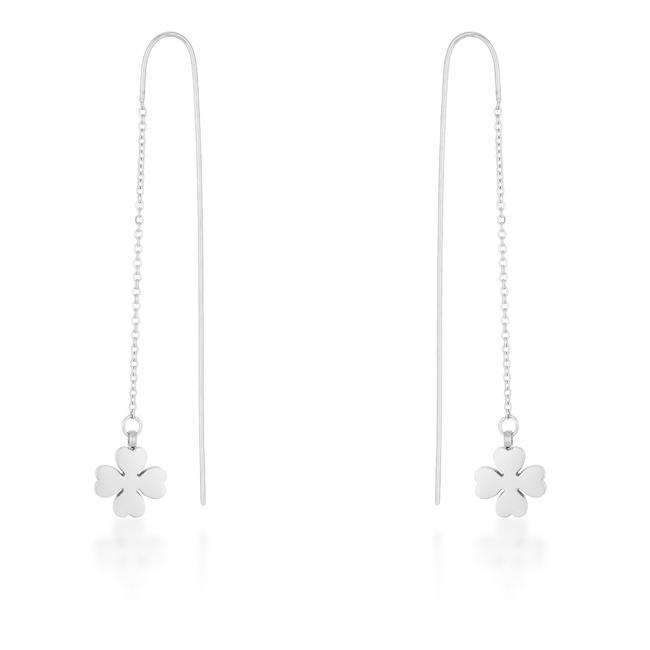 Patricia White Gold Rhodium Stainless Steel Clover Threaded Drop Earrings