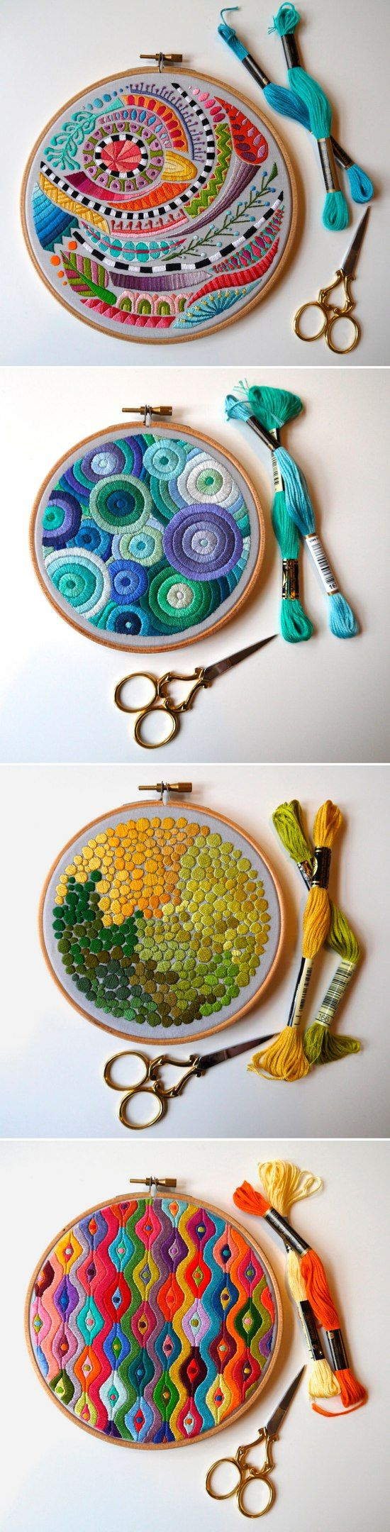 Abstract, embroiders like textiles.  Embroidery ideas -  take inspiration from favourite textiles