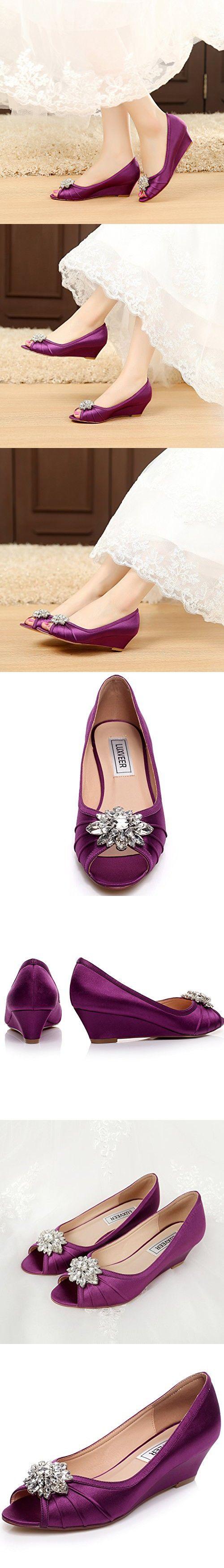 LUXVEER Purple Low Heel Wedding Wedges Shoes,2inch Heels-EU38