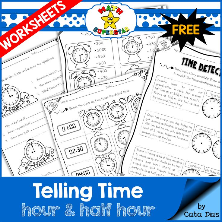 Free Telling Time Worksheets Hour And Half Hour First