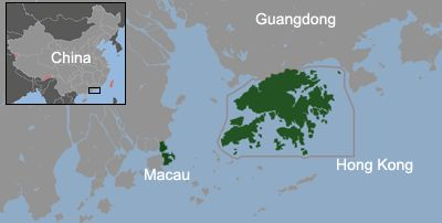 Macau and Hong Kong in Pearl River Delta in southeastern China