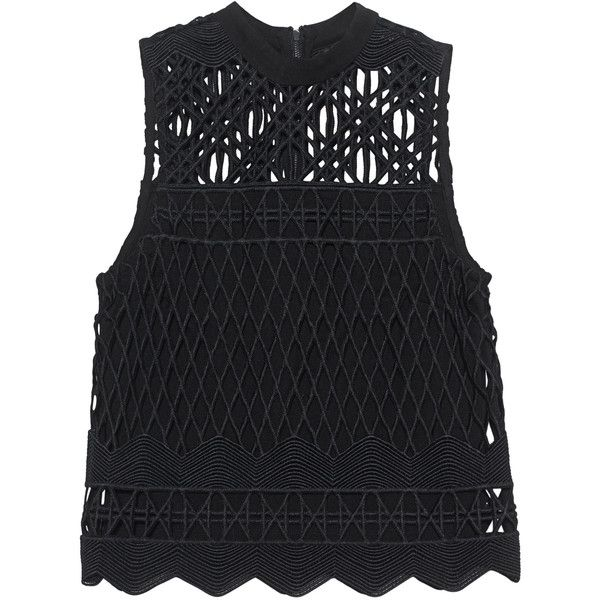 Kendall + Kylie Crochet Black // Crochet top ($255) ❤ liked on Polyvore featuring tops, blusas, my clothes, macrame top, kendall kylie top, crochet tops, zip top and slimming tops