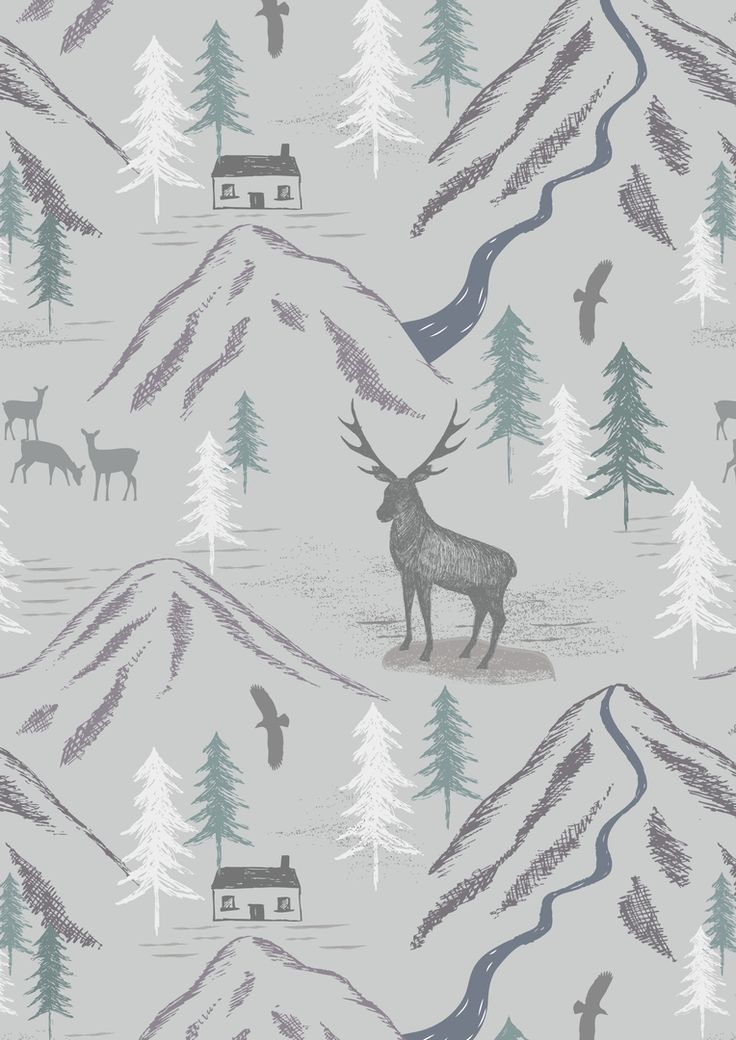 Lewis and Irene - The Glen - Royal stag on Light Grey - 1/4m
