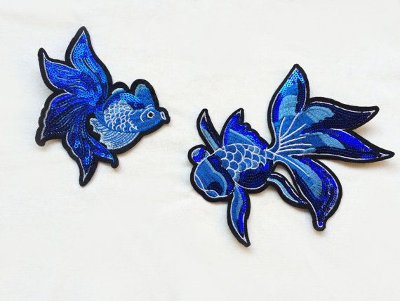 X2 large blue Goldfish Sequin SEW ON patch (no glue) patches Applique royal shiny japan fish tattoo