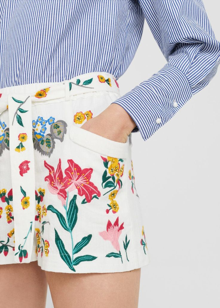 Bestickte baumwoll-shorts | MANGO