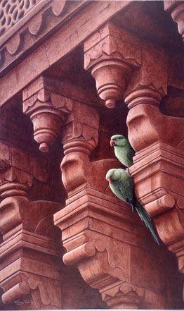 Oiseaux Perroquets Architecture ( Marsala ?)  Rouge
