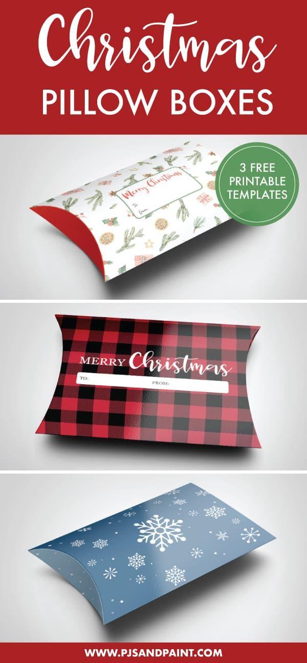 Free Printable Christmas Pillow Boxes Gift Card Holder 3 Designs Gift Card Holder Template Printable Christmas Gift Card Free Christmas Printables