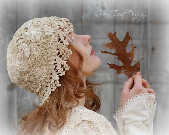 Bridal Cap Veil Made of Vintage Lace 1920's Flapper Style by Green Trunk Designs on ETSY