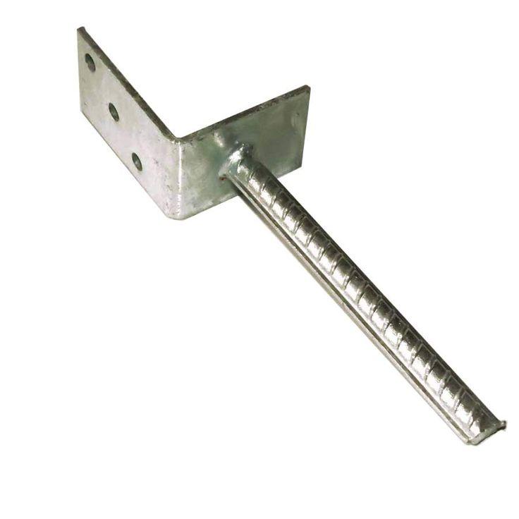 #Universal-Pfostenträger in L-Form aus Stahl verzinkt mit Steindolle zum Einbetonieren. Der #L_Pfostenträger kann für Spieltürme, Carports oder Unterstände verwendet werden.