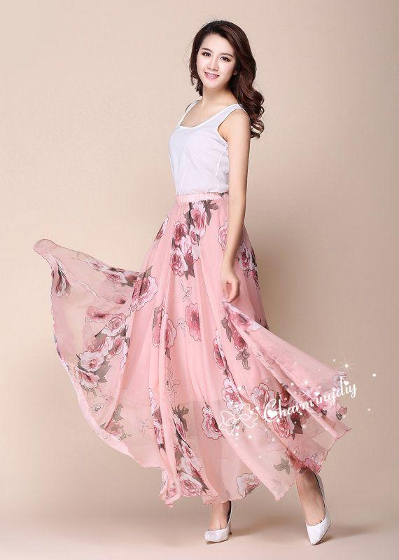 Roze bloemen Chiffon rok lang Maxi Sundress Strandkleedje vakantie jurk vrouwen zomer plooi jurk strand rok Plus Size Dresses  Detail Info:  ❤ Kleur: