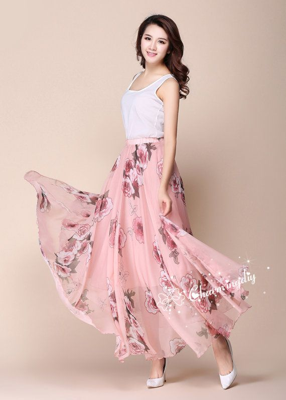 32 Colors Pink Flowers Chiffon Skirt Long Maxi by CHARMINGDIY