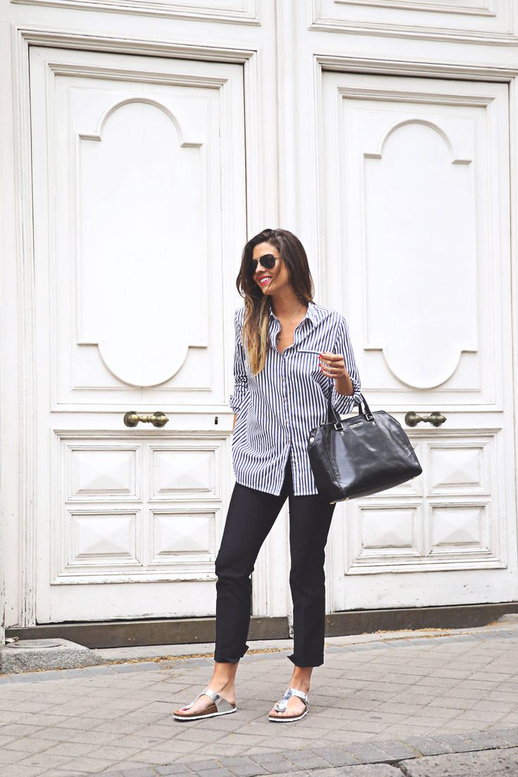 Striped Outfits 2015:Natalia Cabezas is wearing a navy Asos striped shirt