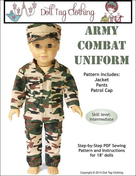 Army Combat Uniform Pattern by Doll Tag Clothing from PixieFaire