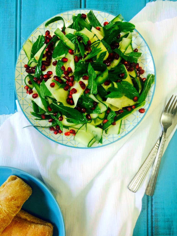 Shaved Cucumber & Pomegranate Salad with Ginger Dressing Recipe - Shine Dining