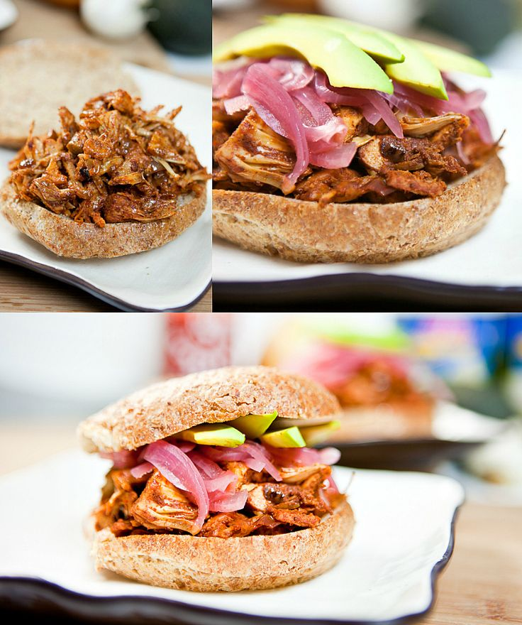 "... Jackfruit ""Pulled Pork"" Sammiches with Pickled Red Onions (vegan"