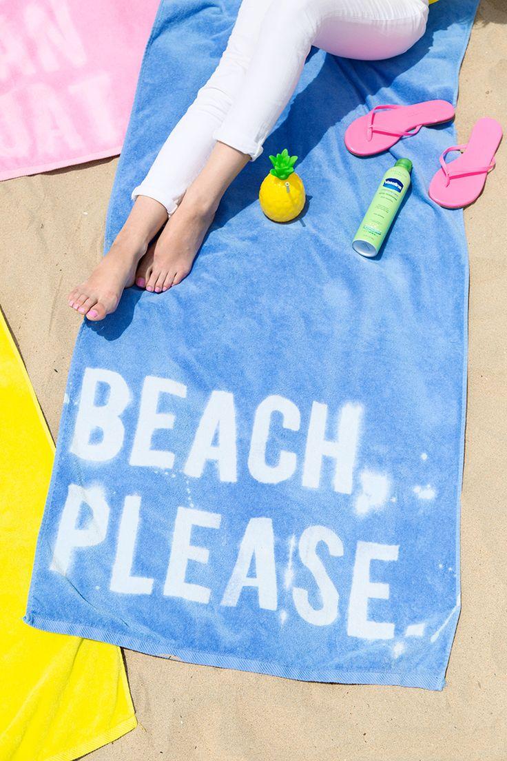 DIY Graphic Beach Towels using bleach