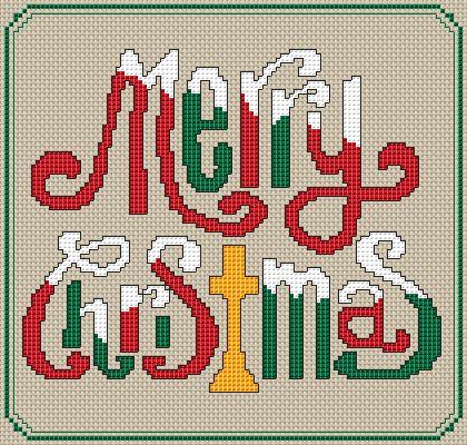 Merry Christmas Free Cross Stitch Pattern
