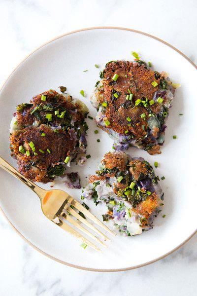 Truffle Salted Purple Potato Kale Cakes