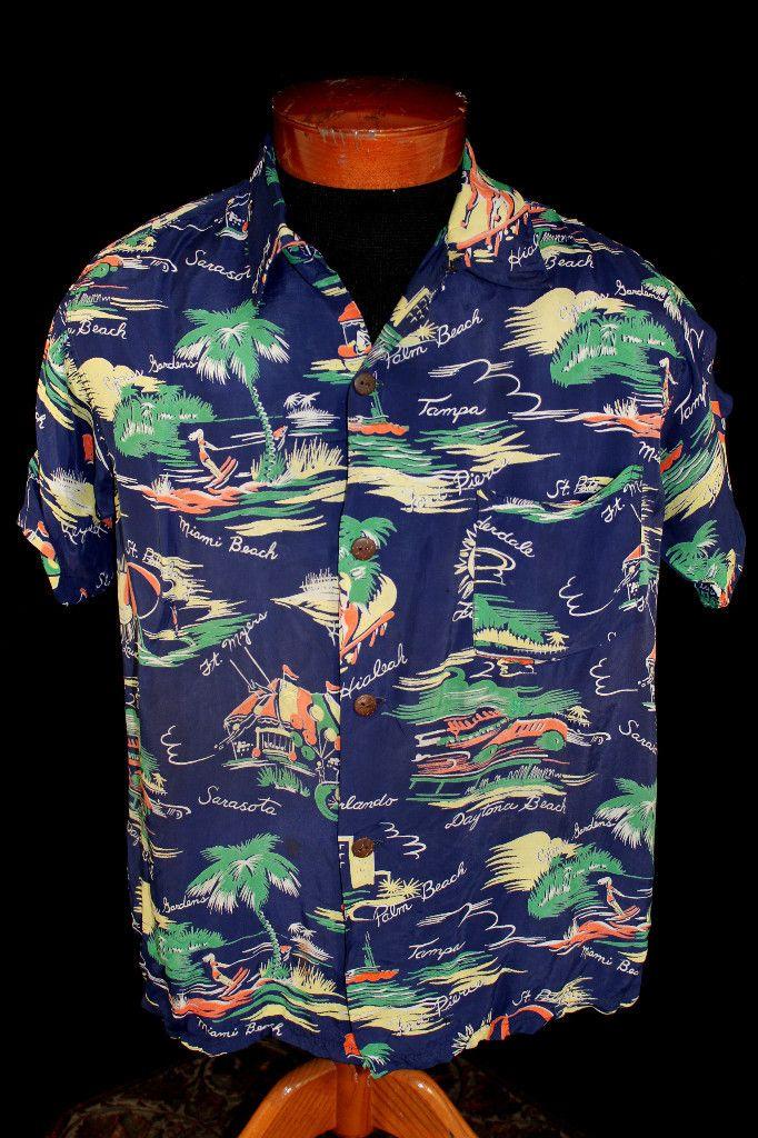 1940'S SILKY BLUE RAYON FLORIDA HAWAIIAN STYLE PRINT SHIRT