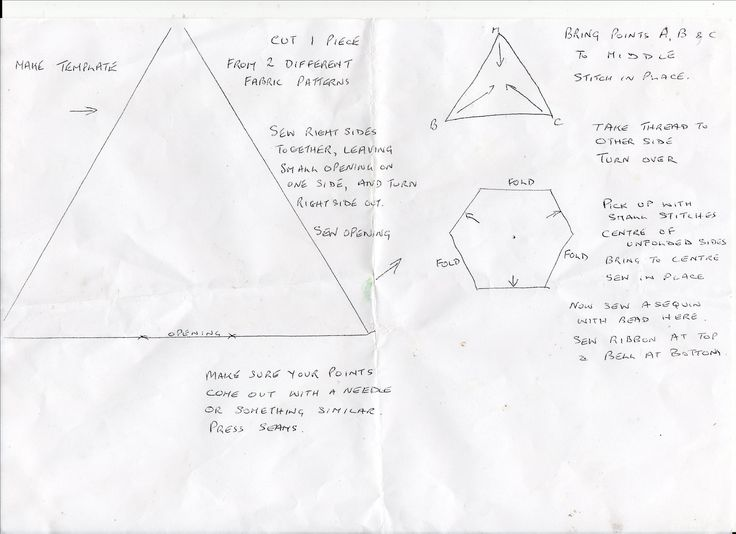 Pattern and instructions for Christmas Triangles.