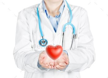 female doctor holding a red heart