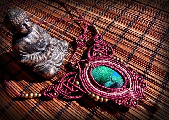 Macramé handmande goddess necklace with chrysocolla  by QuetzArt