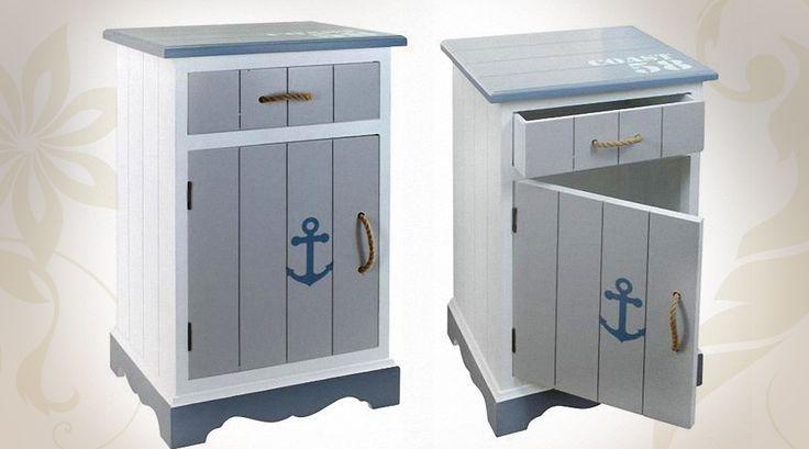 Table de chevet style bord de mer blanc et bleu