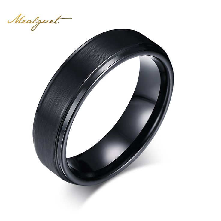 Meaeguet Cool Men Tungsten Carbide Rings Pure Tungsten Black Rings for Men Jewelry 7mm Wide Men Wedding Engagement Rings