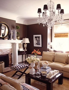Incorporates some of my favorite elements - dark walls, a chandelier hung in a surprising spot, animal-inspired prints, topiaries, great mirrors, etc. etc.!