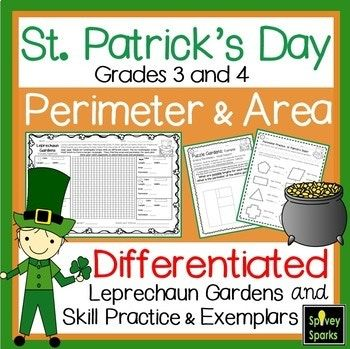 In March, consider teaching area and perimeter using student learning styles! In this leprechaun and St. Patrick's resource, students will use the area and perimeter formulas to solve for unknowns in differentiated worksheets and real-world word problems and exemplars. UPDATED: 2/11/2018 This Resource Includes 2 Learning Styles: * Bodily/Kinesthetic * Visual/Spatial ★ Students will be planing 6 rectangular