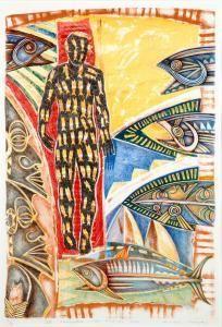 IV Tangaroa, The Fishing Man by NZ artist Michel Tuffery. Lithograph, 690 x 460mm